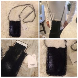 Leather Crossbody Cell Phone Case W/Chain